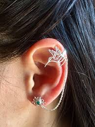 earring chain necklace images Silver ear cuff ear climber climber earrings ear wrap