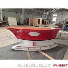 Mobile Reception Desk New Design Artificial Solid Surface Boat Shape Curved Home