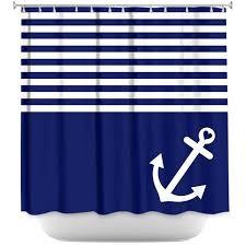 Shower Curtain Nautical Artistic Bathroom Towels Organic Saturation Navy Blue Love