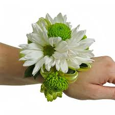 white daisy and kermit pom wrist corsage cbccit05 u2013 flower patch