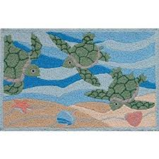 Indoor Outdoor Rug Amazon Com Jellybean Sea Turtle Beach Indoor Outdoor Rug
