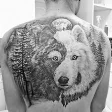 yin yang wolf mens forest back tattoos cool stuff