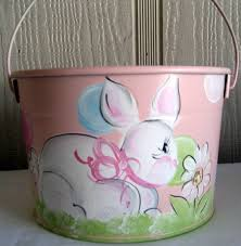 painted easter baskets cottontail bunny basket painted by