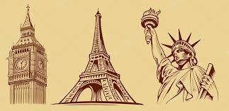 cities symbols sketch paris eiffel tower london big ben new