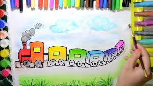 draw color paint rainbow train coloring pages learn colors