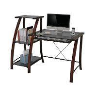 nero glass computer desk with bookcase rc willey furniture store