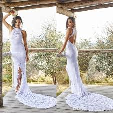 fashion lace boho beach wedding dresses halter backless high slit