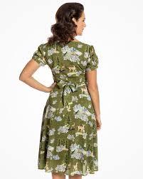 bretta u0027 green deer print tea dress vintage inspired fashion