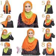tutorial jilbab dua jilbab foto cara memakai kerudung segi empat dua warna model model jilbab