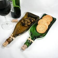 flattened wine bottle platter green wine bottle molded serving tray spoon rest cork
