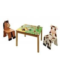 Toddler Table And Chairs Wood Kids Wooden Table And Set Of 2 Chairs Happy Farm Room Collection