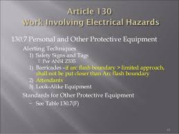 ansi z535 table 130 7 f electrical safety by industrial safety institute