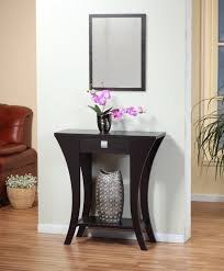 small half moon console table with drawer gray stain wall features varnished wood half moon console table with