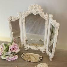 ornate cream rose triple mirror bedroom vanity dressing table