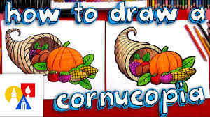 how to draw thanksgiving how to draw a cornucopia youtube