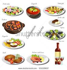 set cuisine european cuisine set collection food dishes เวกเตอร สต อก 531028657