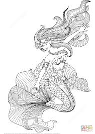 mermaid zentangle coloring page free printable coloring pages