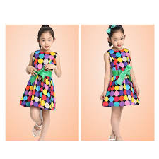 cheap summer dresses color polka dot kids summer sleeveless dress bow swing wide
