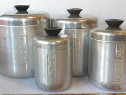 vintage metal kitchen canisters vintage metal kitchen canister set w lids century aluminum ware