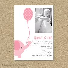 pink elephant birthday party invitation with photo party