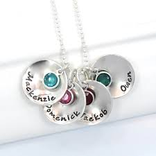 Mothers Necklace With Children S Names Personalized Hand Stamped Mother U0027s Necklace Circles With