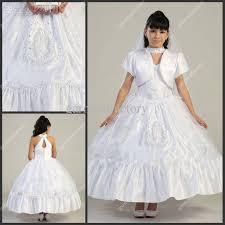 beautiful white flower girls dresses special neckline tea length
