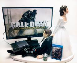 wedding cake topper custom cod adv war gamer xbox