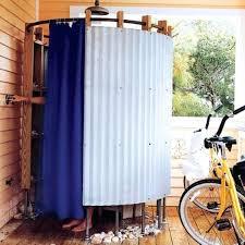 Outdoor Shower Curtains Outdoor Shower Enclosures Bathroom Simple Silver Half Metal