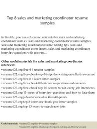 top 8 sales and marketing coordinator resume samples 1 638 jpg cb u003d1428369136