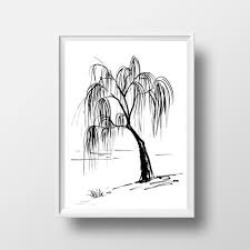 Willow Tree Home Decor Willow Tree Lake Simple Painting Black White Sumi E Minimalist