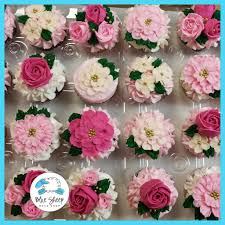 bridal cupcakes tea party bridal shower floral cupcakes nj blue sheep bake shop