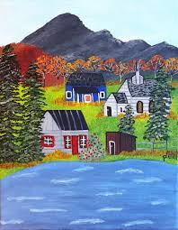 water u0027s edge folk art painting original art acrylic