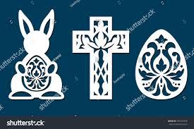easter egg cross rabbit shapes pattern stock vector 593753438