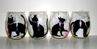 halloween black cat silhouette balls of yarn hand painted wine