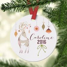 personalized new baby ornament deer