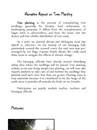 sample report format narrative report on tree planting