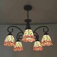 Stained Glass Ceiling Light Five Light Nature Inspired 24 Inch Pink Stained Glass
