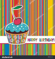 Cherry Cupcake Invitation Card Royalty Happy Birthday Card Cupcake Cherry Stock Illustration 88137454