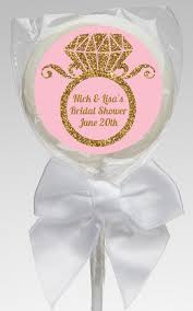 engagement favors engagement ring pink gold glitter bridal shower lollipop favors