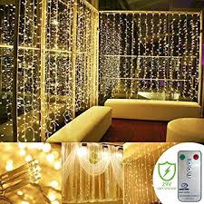 Indoor Curtain Fairy Lights Leazeal Window Curtain String Lights With Remote And Timer 29v