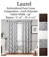 Curtains White And Grey Laurel Embroidered Linen Style Curtain Panel