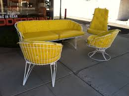 Yellow Patio Chairs A Comfortable Set Of Outdoor Furniture That Looks Retro And