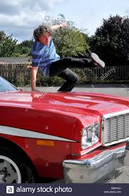 What Was The Starsky And Hutch Car Comedian Alan Davies Jumps The Bonnet Of A Replica Starsky And