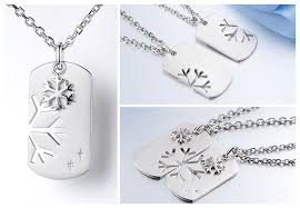 his and hers dog tags matching open snowflake and dog tag puzzled necklaces