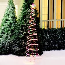 holiday time 6 u0027 multi color spiral christmas tree light sculpture