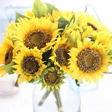 silk sunflowers artificial sunflower bridal bouquet sunflower