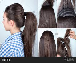 hair bump volume hairstyle ponytail bouffant image photo bigstock
