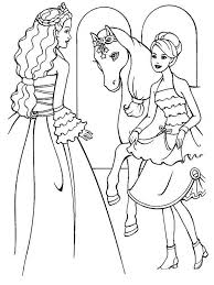 cool barbie horse coloring page for princess and horse coloring
