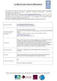 chambre r馮ionale d agriculture paca fiche route des vins de provence mopa 201011