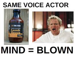 Actor Memes - same voice actor a the lamb mind blown de dank meme on me me